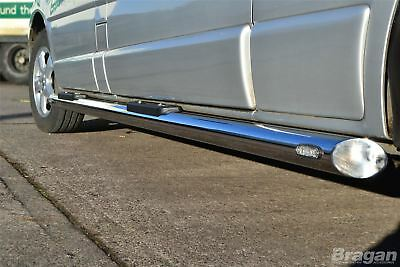To Fit 00-06 Ford Transit MK6 SWB Side Bars Steel Tubes Steps + Step Pads + LED