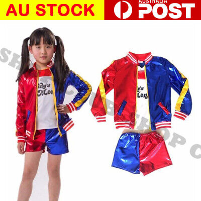 Harley Quinn Suicide Squad Full Costume Set Jacket T-Shirt Short Glove Halloween