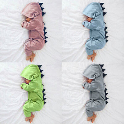 Newborn Infant Baby Set Boy Girl Dinosaur Hooded Romper Jumpsuit Outfits Clothes