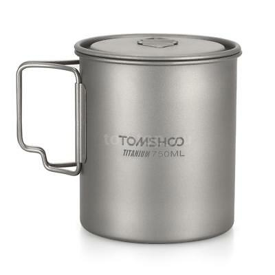 750ml Titanium Cup Outdoor Portable Camping Water Cup Mug w/ Fold Handle F0T9