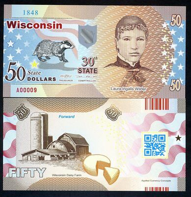 USA States, Wisconsin, $50, Polymer, ND (2017), Laura Wilder