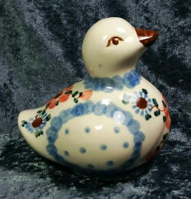 Duck Figurine Floral Blue Red Brown Polish Pottery Farmhouse Cottage Shabby