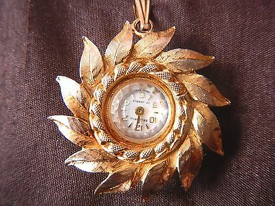 Swiss Gold Plated Mechanical Pendant Watch Necklace