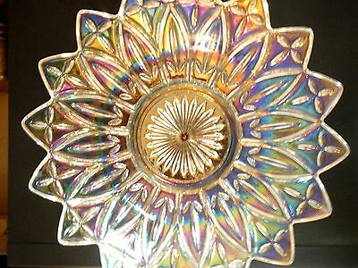 Celestial Iridescent Clear Carnival Glass Dish Bowl