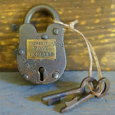 Pony Express Cast Iron Working Lock W/ 2 Keys U.S. Postal Western Decor Padlock