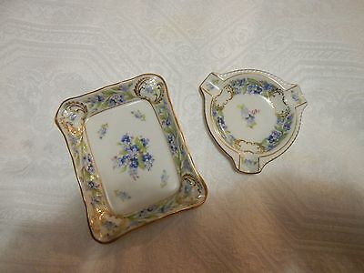 """Schumann Bavaria Germany """"FORGET ME NOT"""" Two (2) Ashtrays Floral Design"""