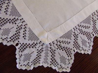 Beautiful White Antique Table Centrepiece with Deep Hand Crocheted Filet Edging