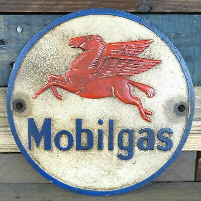 Cast Iron Mobilgas Wall Sign Plaque Decor, Pegasus Flying Horse Oil Gas Man Cave