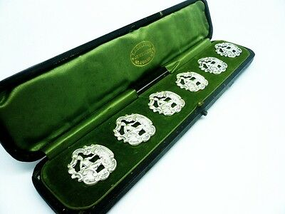 Art Nouveau Silver Buttons, Sterling, Cased, Set of 6, Hallmarked 1901, Antique