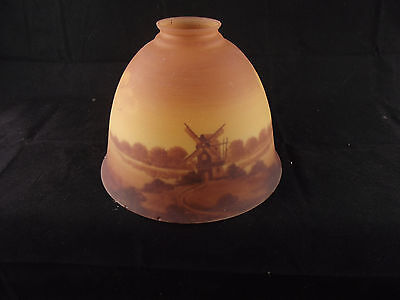 Genuine Vintage Victorian Reverse Painted Glass Light Shade Windmill Sepia tones