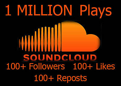 Promotion %Soundcloud 1 MillionPlays + 100 Abonnenten + 100 Reposts + 100Likes