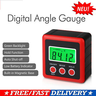 Digital LCD Gauge Bevel Box Angle Finder Protractor Magnets Inclinometer Measure