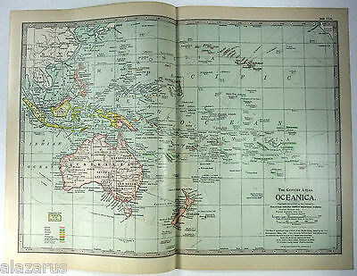 Original 1902 Map of Colonial Oceania by The Century Company