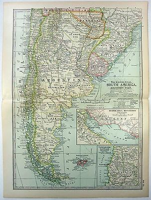 Original 1902 Map of Southern South America - Argentina Chile Uruguay