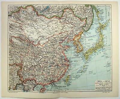 Original 1904 Map of China & Japan by Meyers