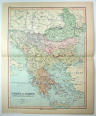 Original Map of European Turkey and Greece by Wm Collins Sons & Co. c 1875