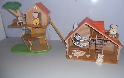 Sylvanian Families,  Treehouse, Log Cabin & Field  Mouse Family + . (No Boxes) .