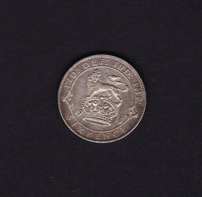 1916 Great Britain UK George V Sixpence Silver Coin