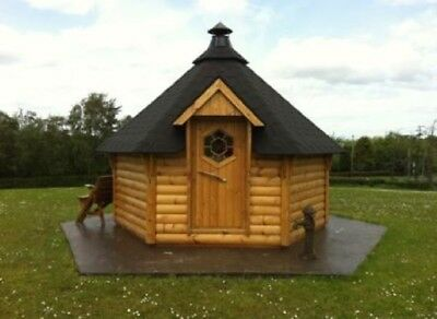 Log Cabin Bbq Hut With Accessories, Reindeer Furs & Barbecue