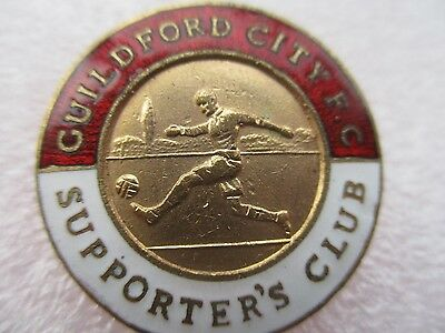 OLD..GUILDFORD CITY FC SUPPORTERS CLUB..maker L.SIMPSON..ENAMEL FOOTBALL BADGE