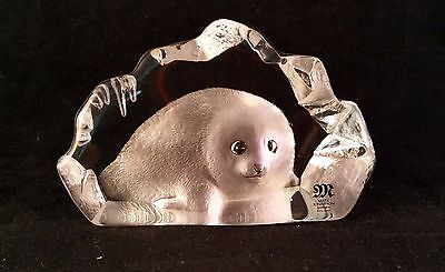 Mats Jonasson lead crystal Baby Seal Sweden Signed and # - Tag