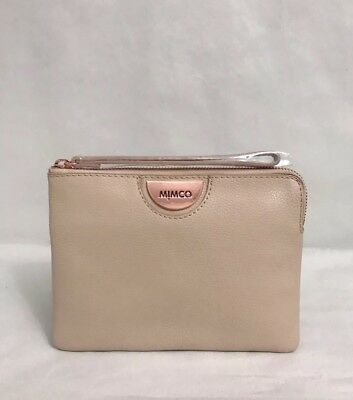 Free shipping Mimco Classic medium pouch Sheep leather In Pancake