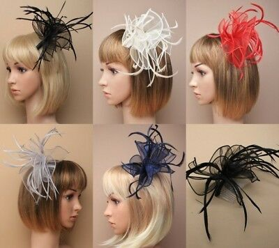 Pack Of 4 Looped Fabric & Feather Fascinators On A Clear Comb; Wedding; Races