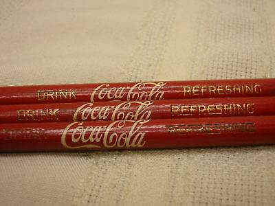 3 Vintage Coca-Cola Pencils Drink Coca-Cola Refeshing Red