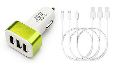 Chargeur Voiture 3 Ports, Allume Cigare USB 5,1A (vert) + 3 câbles micro USB