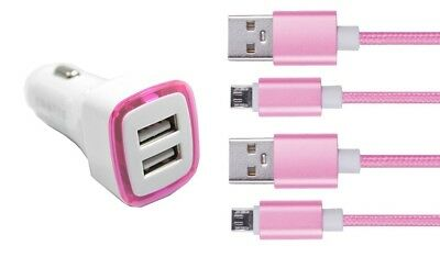 Chargeur Voiture 2 Ports Allume Cigare (Rose) + 2 cables rose Micro USB