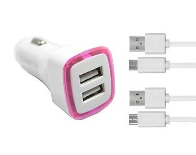 Chargeur Voiture 2 Ports Allume Cigare (Rose) + 2 cables blanc Micro USB