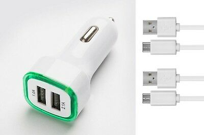 Chargeur Voiture 2 Ports Allume Cigare (Vert) + 2 cables blanc Micro USB