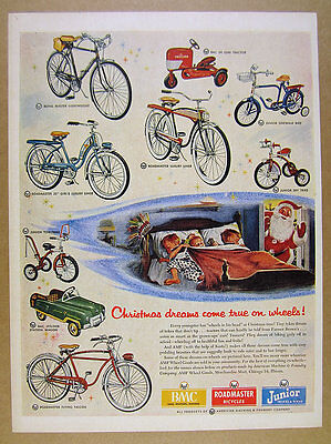 1954 AMF Roadmaster Bikes Bicycles Trikes BMC Toy Tractor Car vintage print Ad