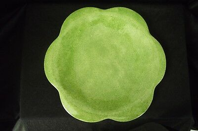 Hand Painted, Green Flower Shaped Plate by Maryse Boxer, Honiton Pottery, Devon
