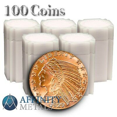 100 Coins-  Incuse Indian 1 oz .999 Copper Bullion Rounds