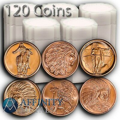 120 Coins Native American Indian Series Combo Pack 1 oz Copper Bullion Rounds