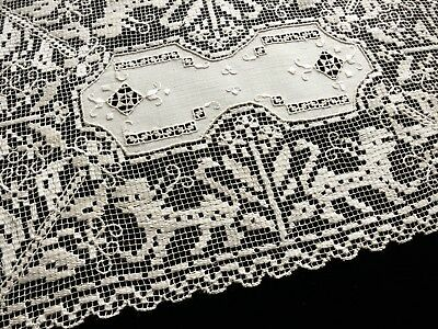 LIONS IN LACE Antique Handmade Sicilian Lace & Embroidery 8 PLACEMATS ~ITALY~