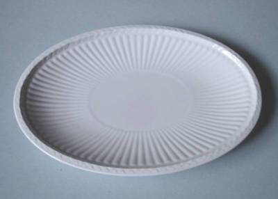 Wedgwood Edme White Queen's Ware Oval Sauce Boat / Gravy Stand Ribbed New