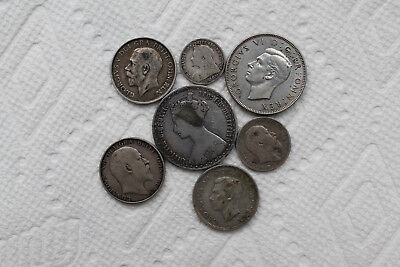 UK (Great Britain) Silver coin, 7 total, 1865-1945, 1Florin 1865, 1Shilling 1906