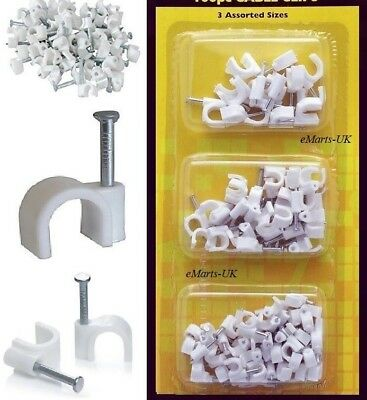 100 Pcs White Cable Clips Wall Tacks 3 Assorted Sizes Fixing Diy Cable Clip New