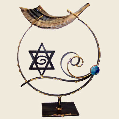 Shofar Stand Large Copper and Glass by The Rosenthal Collection