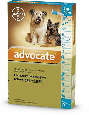 Advocate for medium dogs weighing between 4kg and 10kg (3x1.0ml)