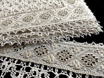Antique BOBBIN LACE & EMBROIDERY on LINEN 10 Placemats + Runner ITALY LEFKARA