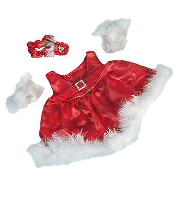 """Red satin Christmas dress gloves bow outfit teddy clothes fits 15"""" Build a Bear"""