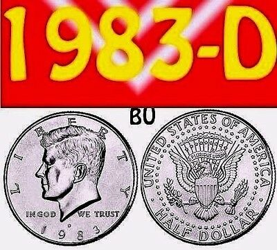 1983-D Kennedy Uncirculated Clear Bright Half Dollar.===Bu===C/n====