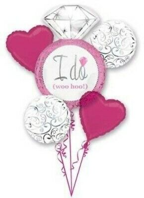 5 piece i do wedding bridal shower ring foil mylar balloon bouquet party