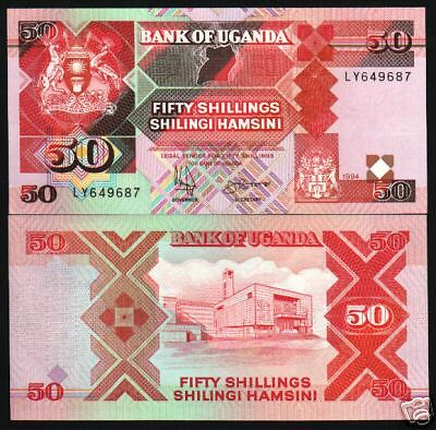 Uganda 50 Shillings P30 1994 Map Animals Unc Currency Money Bill Bank Note