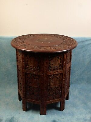 Carved Wood Rosewood or Teak Folding Anglo-Indian TABLE BrassTea Coffee Vintage