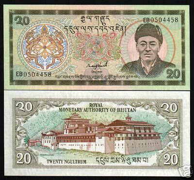 Bhutan 20 Ngultrum P16B 1992 King Dragon *2 Prefix Unc World Currency Money Note