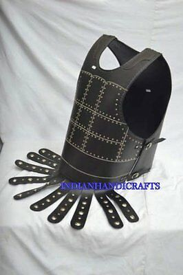""""""" LEATHER Armor Breastplate Medieval Muscle Suit of Armor Jacket Suit in black"""